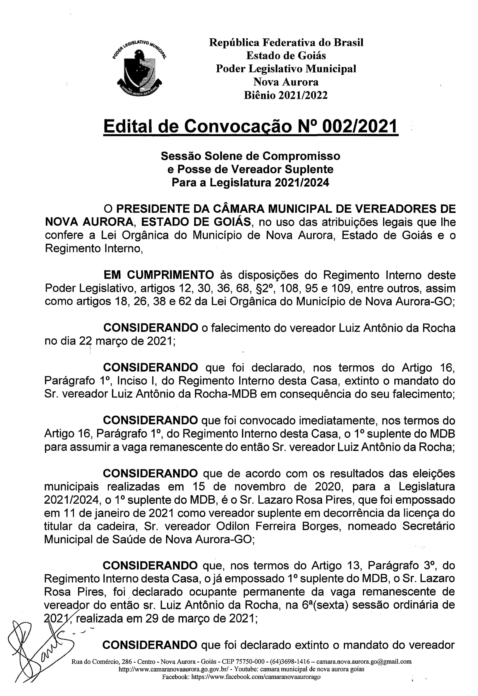 Edital de Convocação Para Posse do 2º Suplente do MDB Rildo Marques Pires