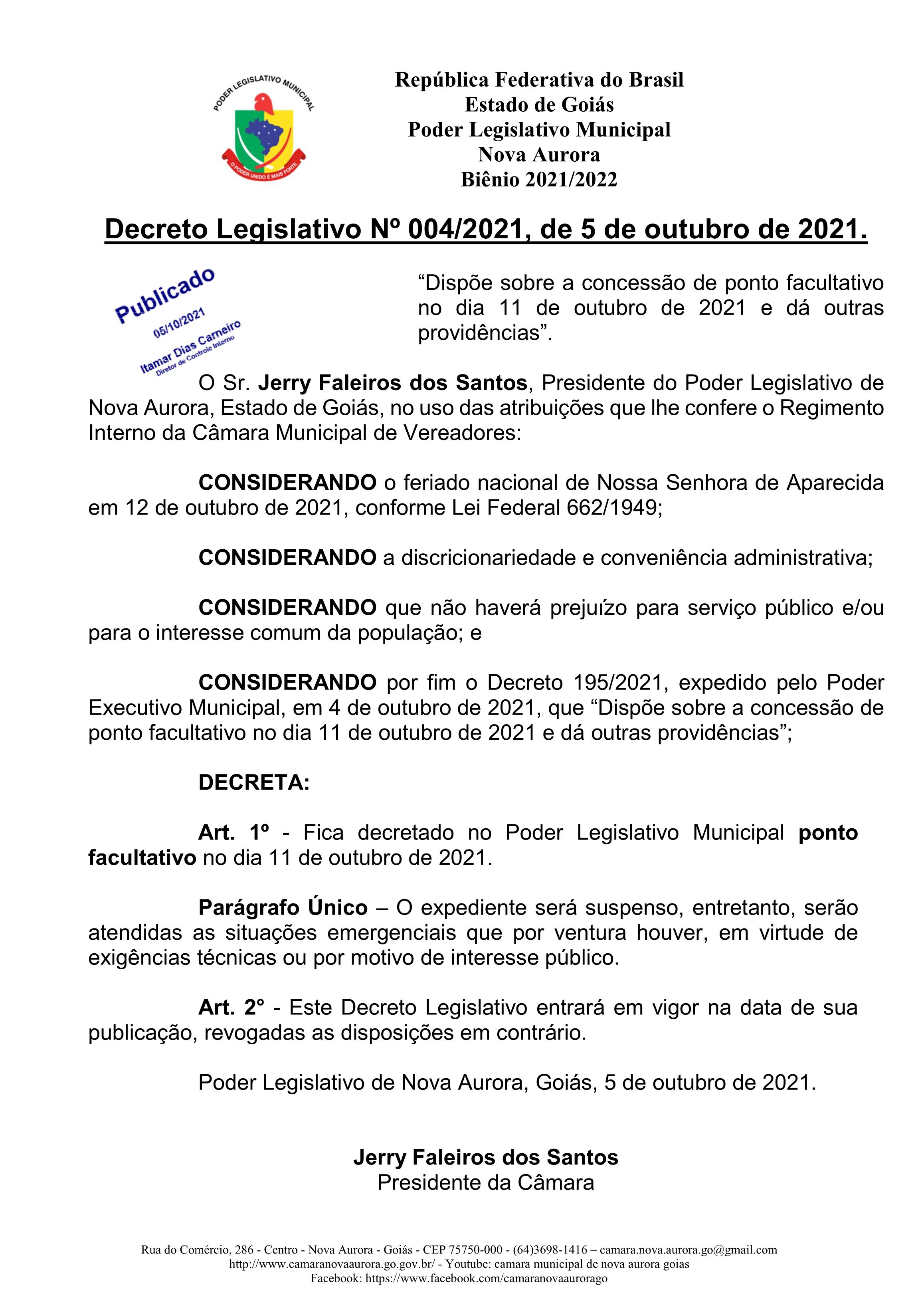 Decreto Legislativo 004-2021 – Concessão de ponto facultativo no dia 11 de outubro de 2021